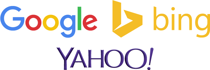 Google, Bing, and Yahoo logos