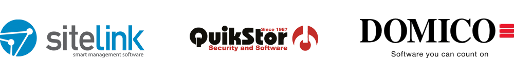 SiteLink, Quickstor and Domico logos